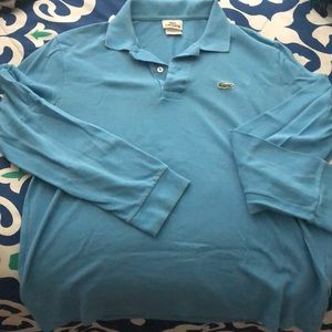 Light blue Lacoste long sleeve polo